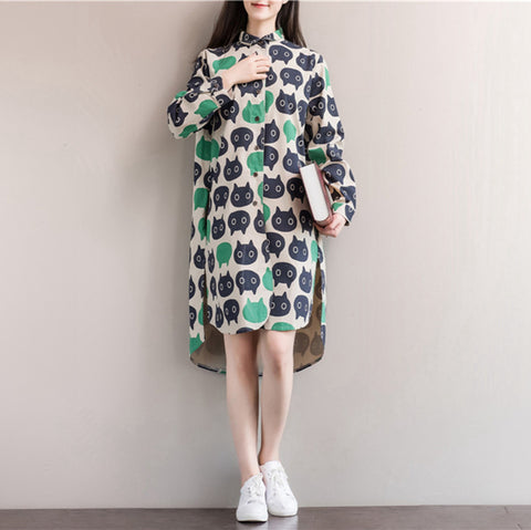 Owl Print Cotton Long Sleeve Vintage Dress