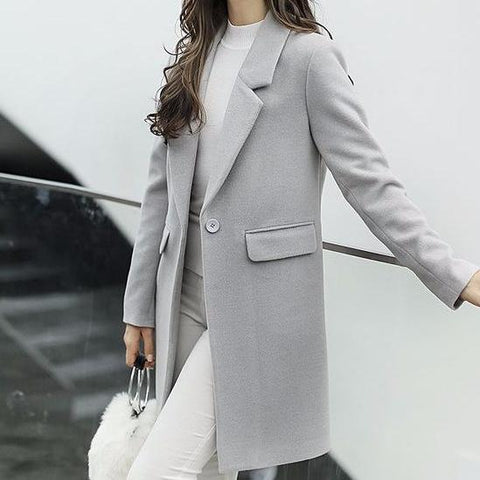 Grey Single Button Suite Coat