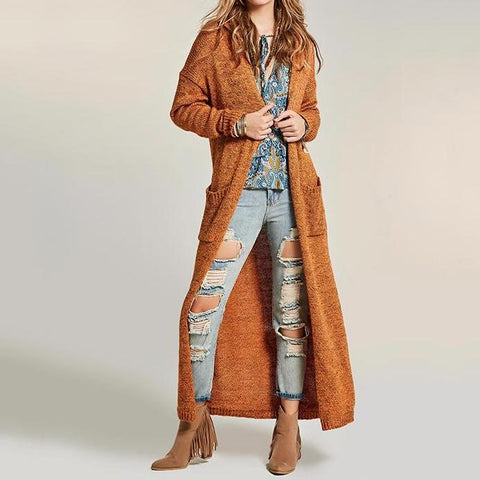 Autumn Women Long Knitwear Coat