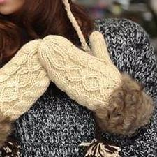 Double-Deck Wool Fur Halter Wrist Winter Warm Gloves