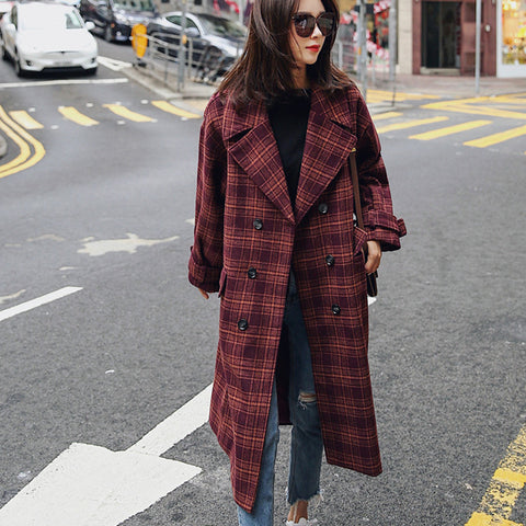 Plaid Wool Pocket Double Breasted Long Trench Outwear Coat