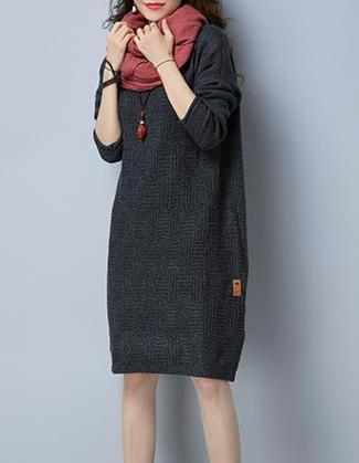 Casual Knitted Long Sweater Dress