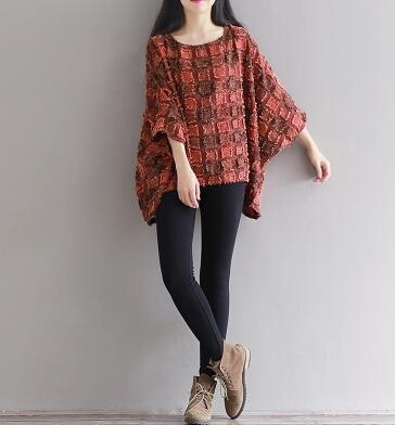 Spring And Summer Large Size Literary Style Batwing Shirt