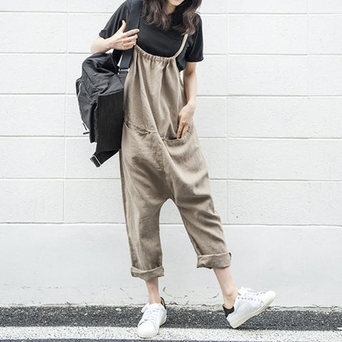 Sleeveless Casual Loose Long Vintage Jumpsuit