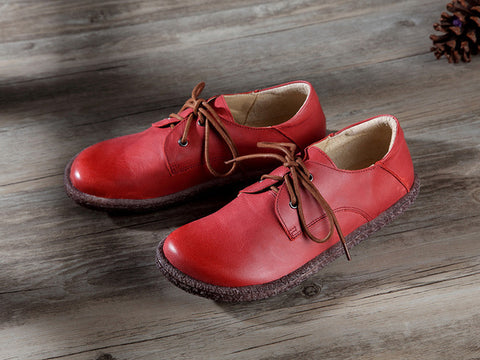 Retro Art Red Women Shoes Casual Genuine