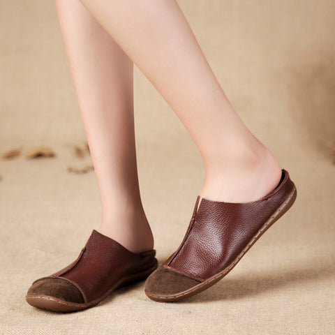 Women Spring Genuine Leather Casual Retro Shoes