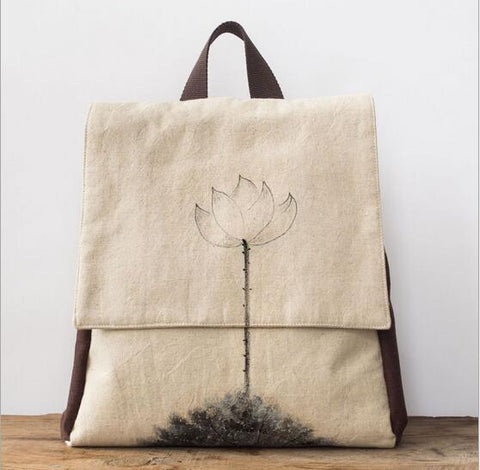 Retro Vintage Linen Backpack