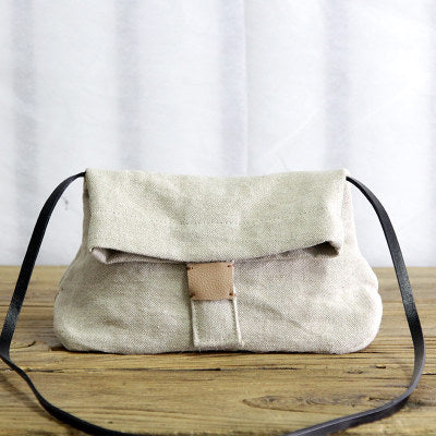 Art Cotton Linen Small Canvas Handbag
