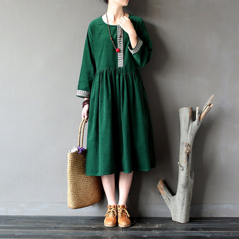 Long Sleeve National Style Big Swing Dress