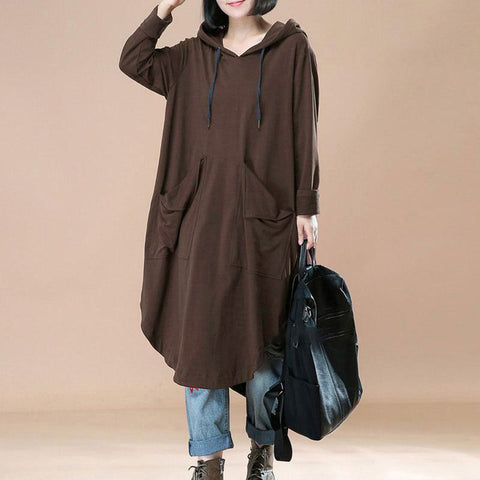 Fashion Oversized Loose Long Sleeve Batwing Hooded Pullover Dress