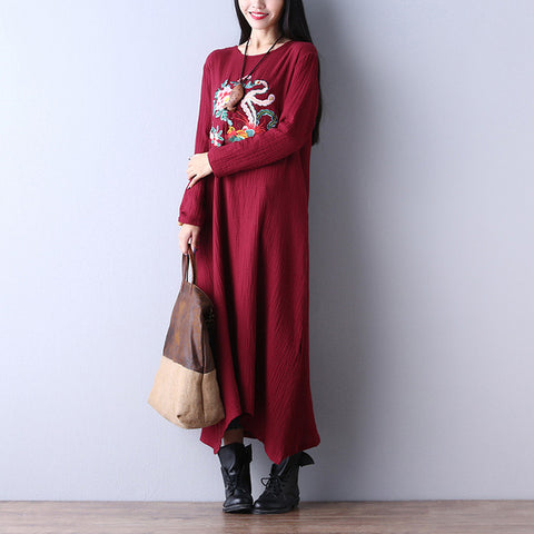 Casual Fashion Long Sleeve O Neck Maxi Dress