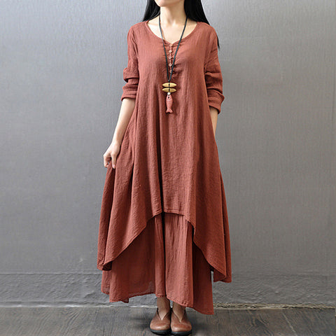 Fashion Retro Red Long Maxi Dress
