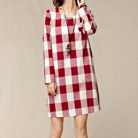 Long Sleeve Retro Grids Summer Dress