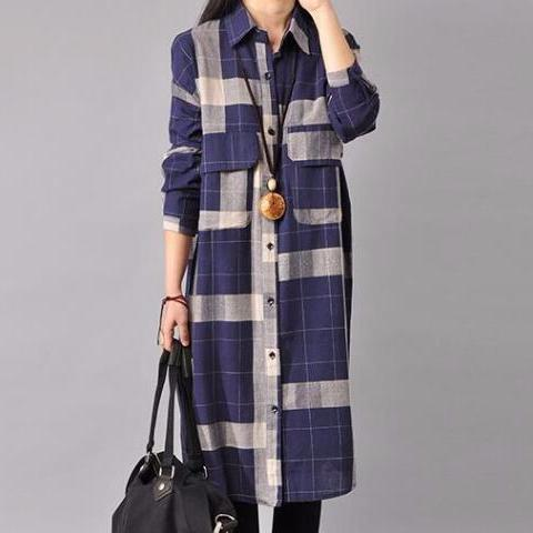 Vintage Long Sleeve Loose Plaid Dresses