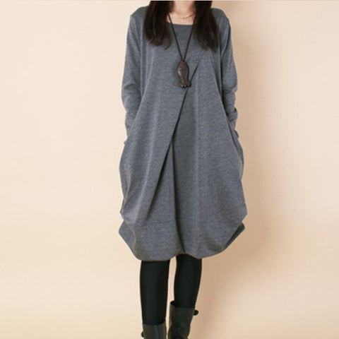 Fashion Casual Loose Gray Midi Dress