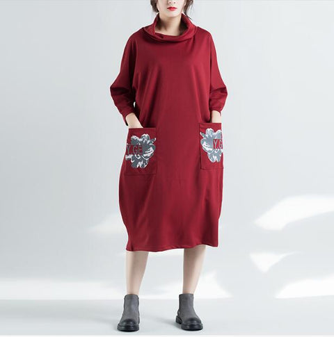 Autumn Women Vintage Turtlenck Long Sleeves Dress Robe