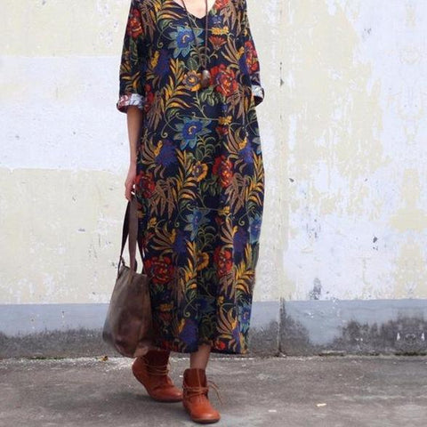 Retro Floral Print Maxi Long Dress