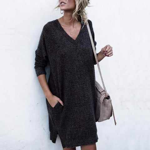Long Sleeves Loose Elegant Jumper Dress
