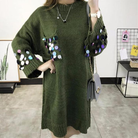Casual Women Knitting Dress Loose Style Long Sleeve