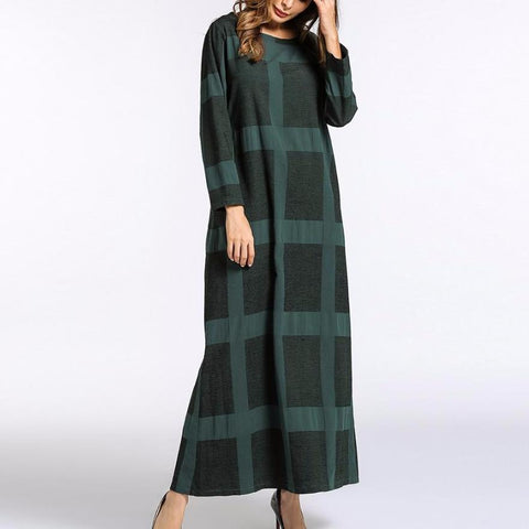 Women Green Plaid Long Sleeve Maxi Dress