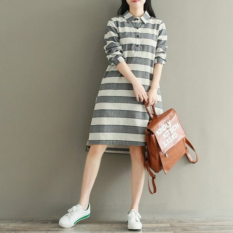Fashion Autumn Women Striped Long Sleeve Dress