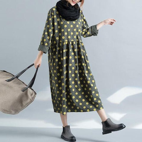 Casual Loose Party Polka Dot Oversized Midi Long Dress