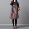 Women Patchwork Linen Vintage Long Sleeve Dress