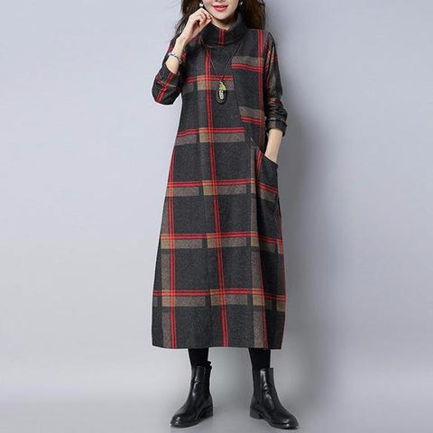 Long Sleeve Turtleneck Plus Size Wool Casual Dress