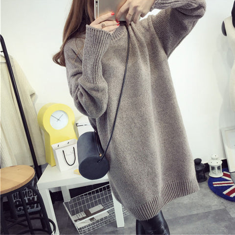 Casual Turtleneck Long Knitted Fashion Sweater Dress