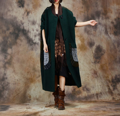Casual Retro Patchwork Plaid Bat Sleeve Coat