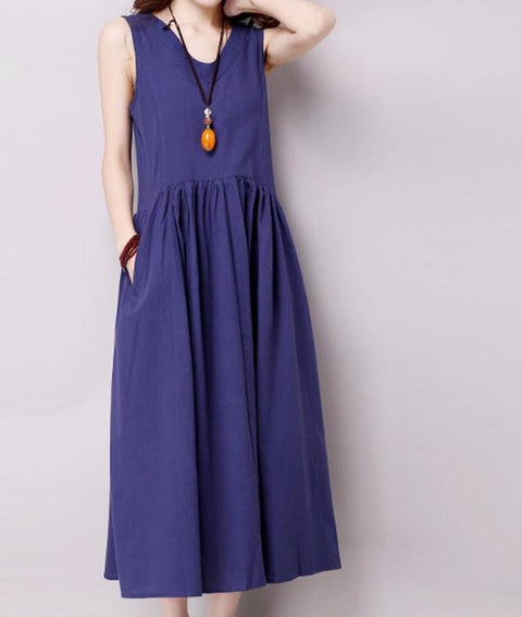 Blue Loose Sleeveless Casual Dress