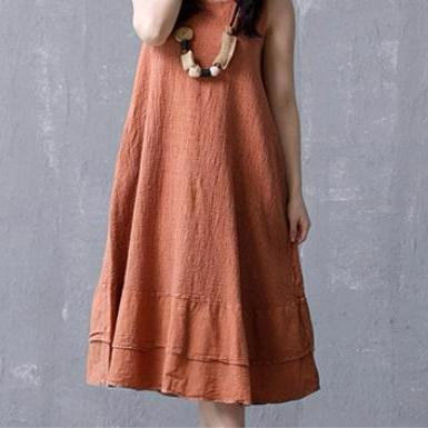 Solid Casual Sleeveless Ruffles Sundress