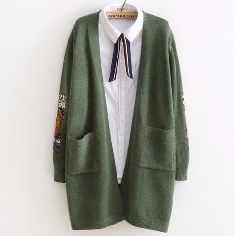 Autumn Winter Long Sleeve Kniting Casual Women Coat