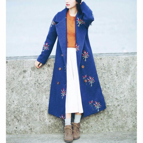 Autumn and Winter Long  Blue Thick Wool Coat