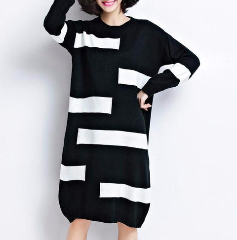 Vintage Casual Long Knitted Sweater Dress