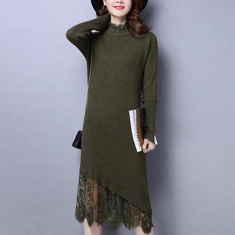 Elasticity Plus Size Elegant Women Knitted Sweeter Dress