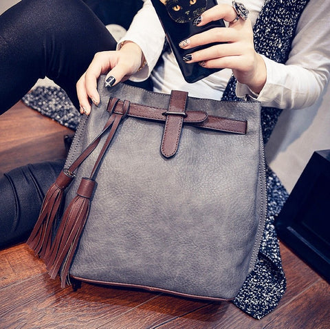 Women Leather Fashion Tassel  Shoulder Bag