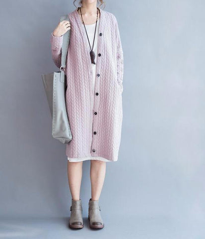 Striped Casual Pink Vintage Coat