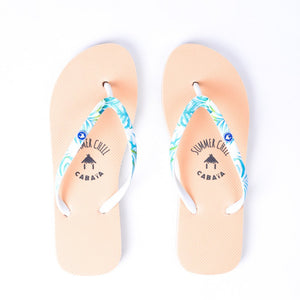 Flip flop Women saumon confortables motif tropical hawaï caoutchouc recycle