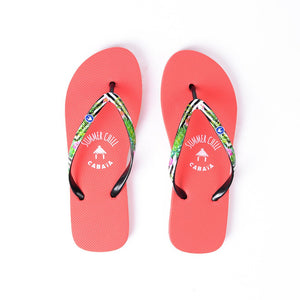 Flip flop Women rouge confortables motif tropical raye caoutchouc recycle