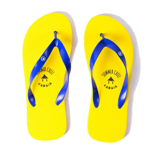 Flip flop Men jaune confortables motif caoutchouc recycle