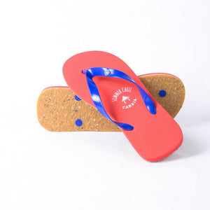 Flip flop Men rouge confortables motif caoutchouc recycle