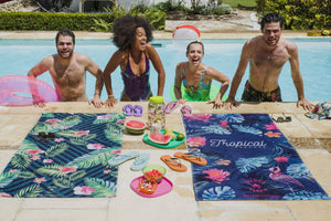 towels de plage rectangular bleu tropical avec poche zipee antivol