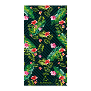 towels de plage rectangular verte tropical avec poche zipee antivol