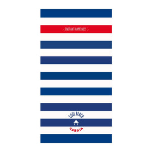 towels de plage rectangular bleu and blanc avec poche zipee antivol