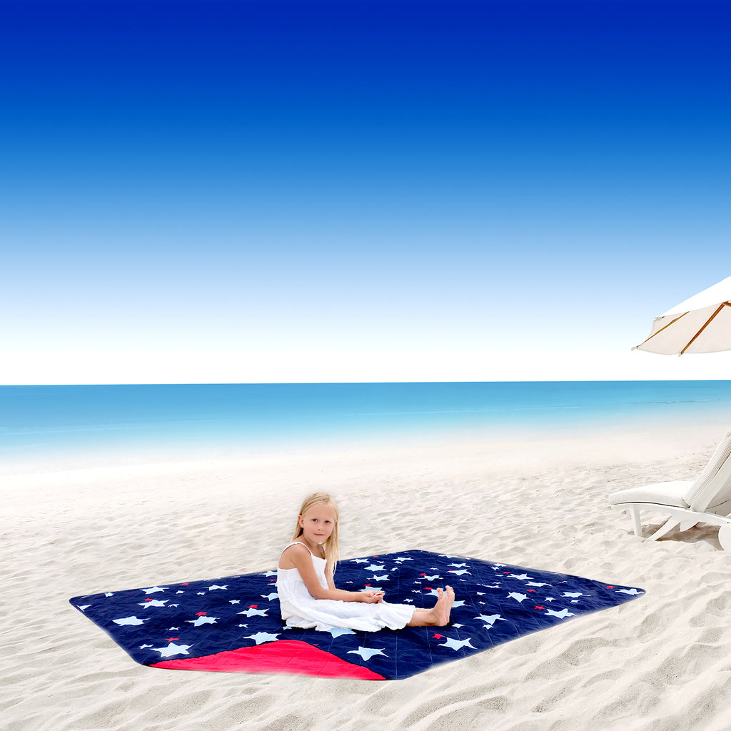 Tote Style Outdoor Picnic Blanket--Star