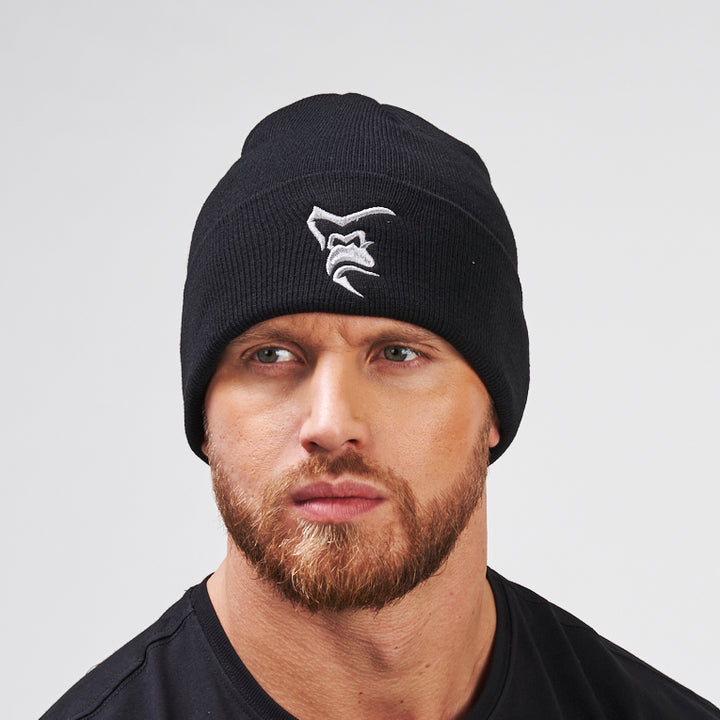 Silverback Embroidered High Cuff Beanie Black