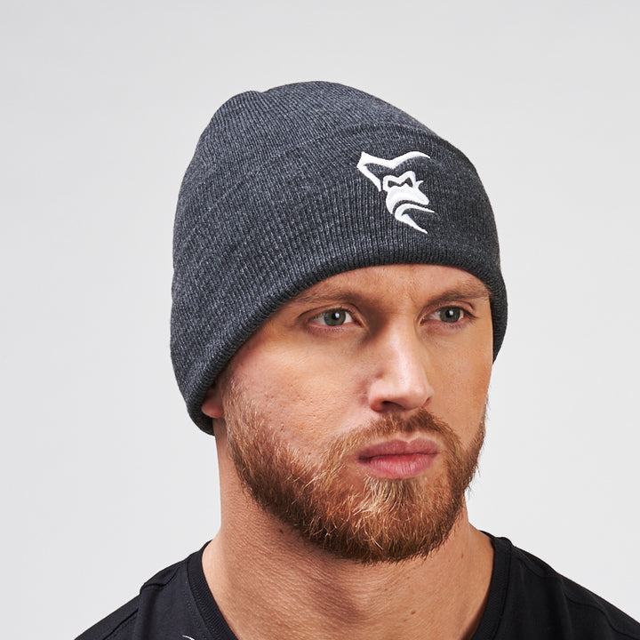 Silverback Embroidered High Cuff Beanie Charcoal