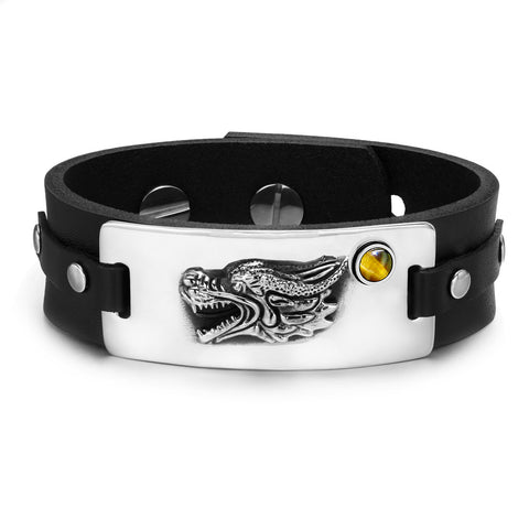 Courage Dragon Amulet Leather Bracelets