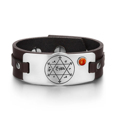 King of Solomon Circle of Pentacle Unique Leather Bracelets